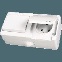 Nemliyer Белый Розетка с заземлением с крышкой - выключатель 2-х клавишный