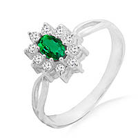 Серебряное кольцо с натуральным изумрудом 0,20 карат