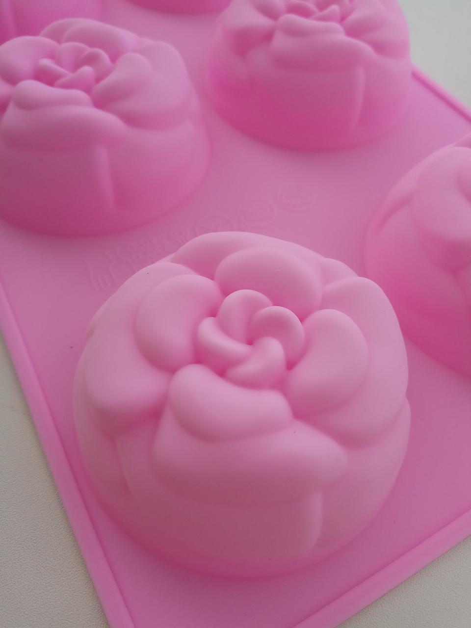 Силиконовая форма для десерта Цветы 6 шт