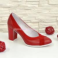 Туфли красные женские классические на каблуке, натуральная кожа и замш. 38 размер