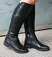 Женские кожаные сапоги с утеплением