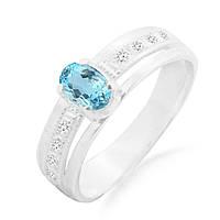 Серебряное кольцо с голубым топазом 0,50 карат