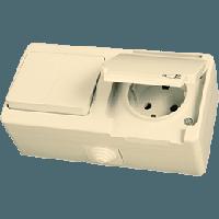 Nemliyer Крем Розетка с заземлением с крышкой - выключатель 2-х клавишный с подсветкой
