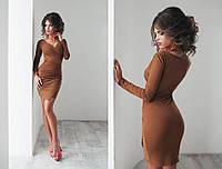Платье женское с асимметричным низом, материал - замша, цвет - коричневый