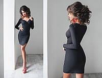 Платье женское с асимметричным низом, материал - замша, цвет - черный