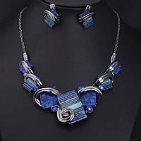 Набор колье + серьги женский Adele blue