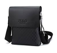 Мужская сумка кожаная через плечо Polo VIDENG (Paris) Чорный