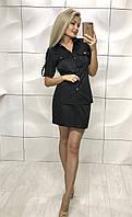Женский деловой костюм с юбкой черного цвета