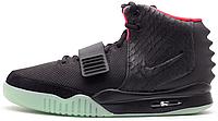 Женские высокие кроссовки Nike Air Yeezy 2 Black Найк Аир Изи 2 черные