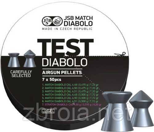 Кульки JSB DIABOLO Match Test 4.5 мм (0,520 гр, 0,535 гр.) 500шт.