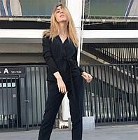 Женская блуза из крепа с запахом и топом чёрного цвета