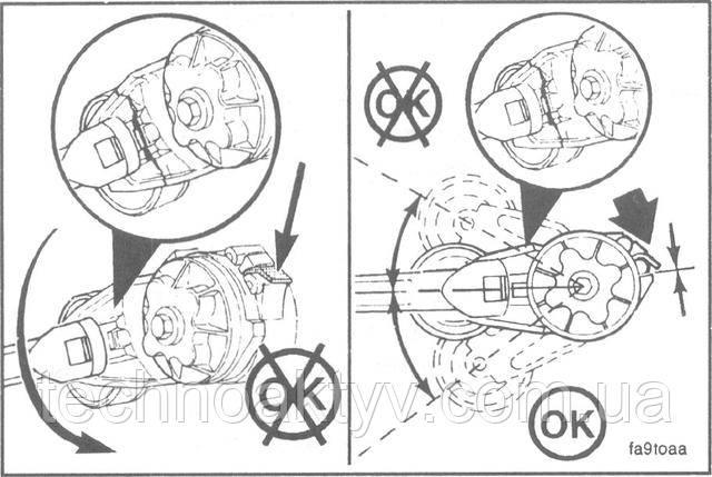 Во избежание повреждения рычага устройства не следует прилагать чрезмерные усилия в направлении, противоположном намотке пружины или после того, как устройство повернуто до нормального упора.