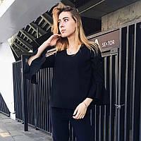 Женская блуза из крепа с воланами чёрного цвета