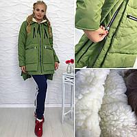 """Женская куртка-трансформер с меховым капюшоном, на плотной плащевке, синтепон 200, """"БАТАЛ"""" И """"НОРМА"""", хаки"""
