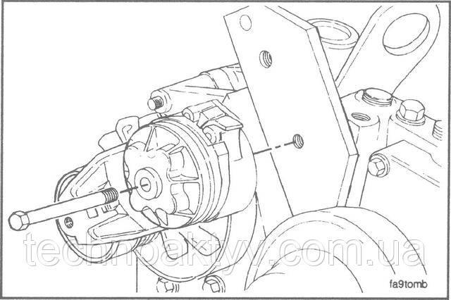 Ключ 13 мм  Снимите натяжное устройство с кронштейна.