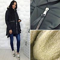 """Женская куртка-трансформер с меховым капюшоном, на плотной плащевке, синтепон 200, """"БАТАЛ"""" И """"НОРМА"""", черная"""