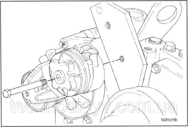 Ключ 13 мм  Установите натяжное устройство.
