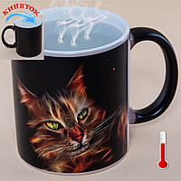 Чашка хамелеон Огненные кошки