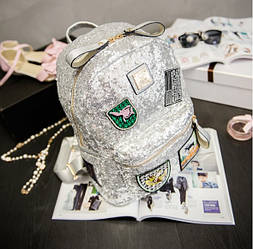 Городской рюкзак женский серебро