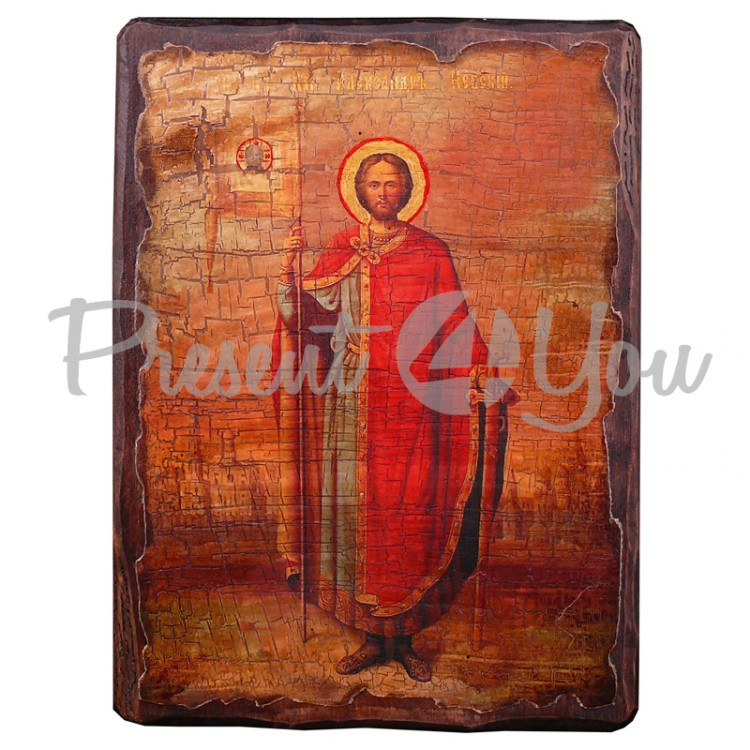 Деревянная икона святой Александр, 17х23 см (814-2029)
