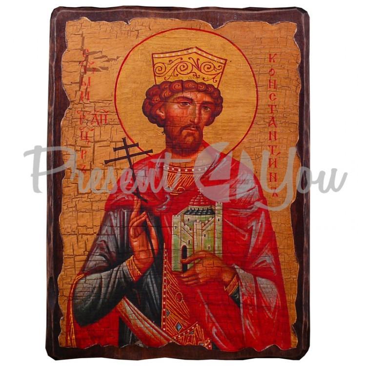 Деревянная икона святой Константин, 17х23 см (814-2026)