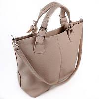 Бежевая сумка-шоппер М51-66 женская трапеция фигурная модная