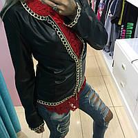 Женская черная куртка с цепями