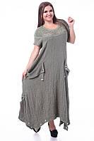 Платье женское  макси фисташкового цвета ткань жатка