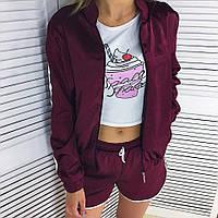 Женский модный костюм тройка: кофта+штаны+шорты, фото 1