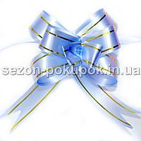 """(10шт) Бантик подарочный """"Лентяйка""""(полипропилен) 8,5х7см Цвет - голубой"""