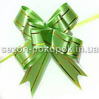 """(10шт) Бантик подарочный """"Лентяйка""""(полипропилен) 8,5х7см Цвет - салатовый"""
