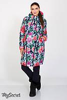 """Куртка для беременных """"Kristin print"""", коралловый с принтом розы"""