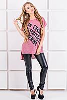 Женская футболка свободного кроя Джина цвет бордо, размер 44-54