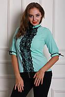 Строгая бирюзовая блуза для деловых женщин размер: 42,44,46,48,50