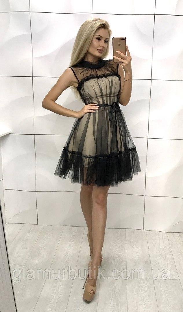 f33d15add1c Шикарное нарядное вечернее выходное стильное платье с фатином сеткой и  поясом чёрное с бежевым 42-