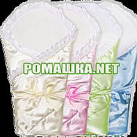 Атласный летний конверт-одеяло 80х80 см на выписку подкладка хлопок на синтепоне с липучкой и бантом 0909 Цвет
