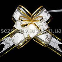 """(10шт) Бантик подарочный """"Лентяйка"""" с узором (органза+полипропилен) 9х13см Цвет - белый"""