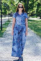 Женское летнее легкое платье из хлопка цвет синий размер 46-64 / больших размеров