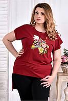 Женская стрейчевая футболка со шлейфом 0561 цвет красный размер 42-74