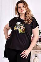 Женская стрейчевая футболка со шлейфом 0561 цвет черный размер 42-74