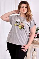 Женская стрейчевая футболка со шлейфом 0561 цвет серый размер 42-74