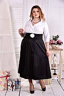 Женское платье макси 0559 цвет черно-белый размер 42-74 / больших размеров