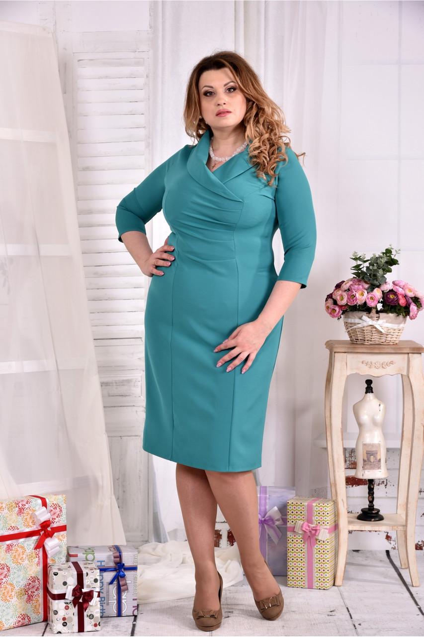 cd33a8ef0cdfc26 Женское платье из костюмки 0552 цвет бирюза размер 42-74 / больших размеров  - АЛЛО