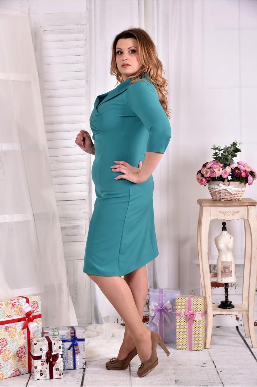 ca1096241ed6b33 Женское платье из костюмки 0552 цвет бирюза размер 42-74 / больших размеров  , цена 520 грн., купить в Днепре — Prom.ua (ID#573753825)