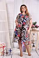 Женское платье с красными цветами 0548 размер 42-74 / больших размеров