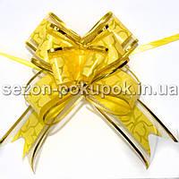 """(10шт) Бантик подарочный """"Лентяйка"""" с узором (органза+полипропилен) 9х13см Цвет - желтый"""