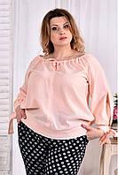 Женская блуза на лето 0546 цвет персик размер 42-74