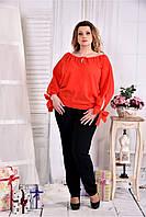Женская блуза на лето 0546 цвет коралл размер 42-74