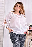 Женская блуза на лето 0546 цвет белый размер 42-74