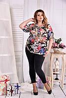 Женская красивая блуза на лето с цветами 0544 размер 42-74